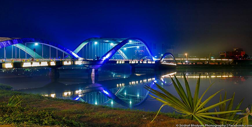 Hatirjheel is a lakefront at Begunbari in Dhaka City